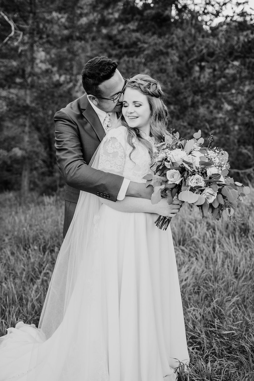 black and white formal wedding photography provo utah bride and groom