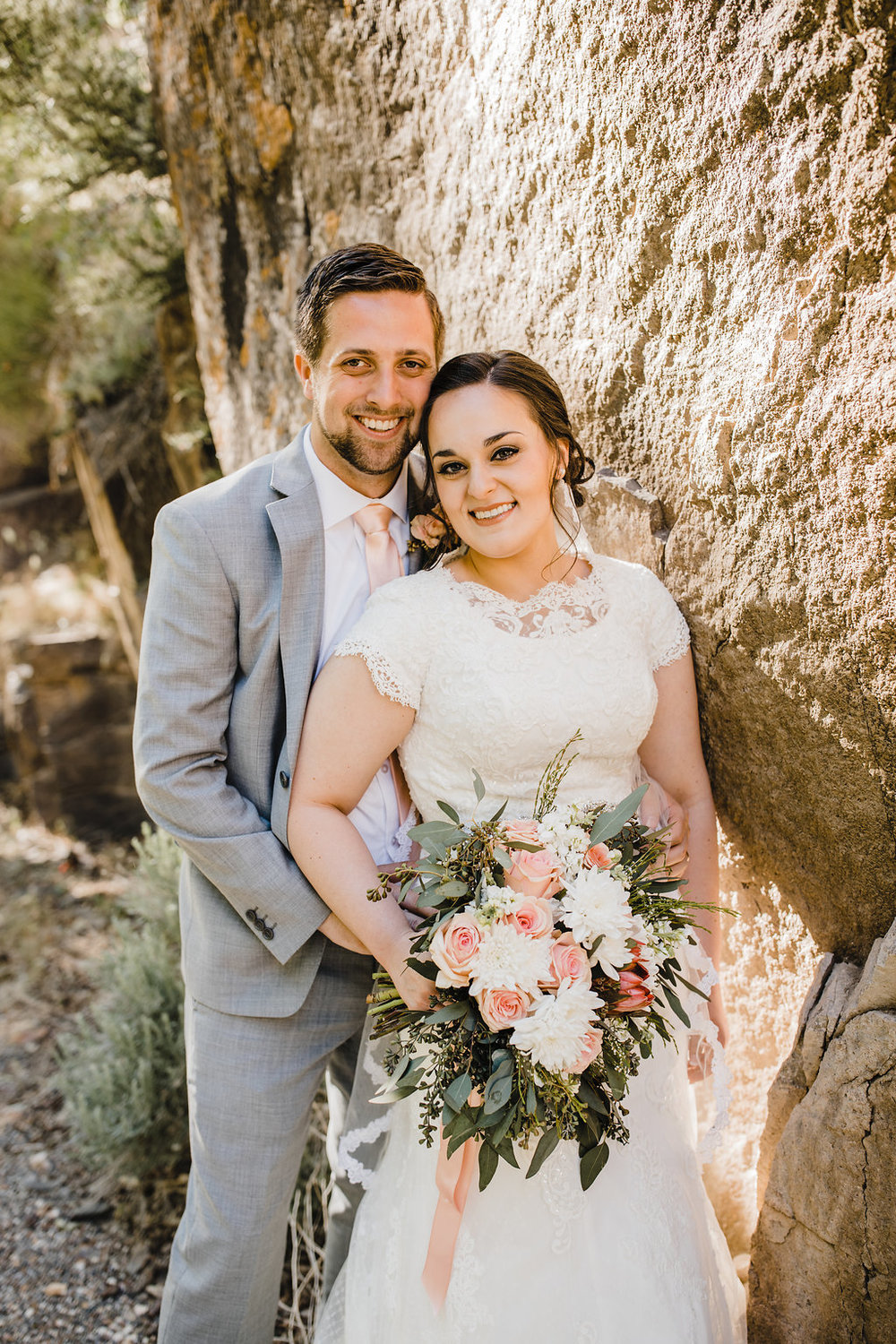 bride and groom on wedding day monroe utah blush and grey