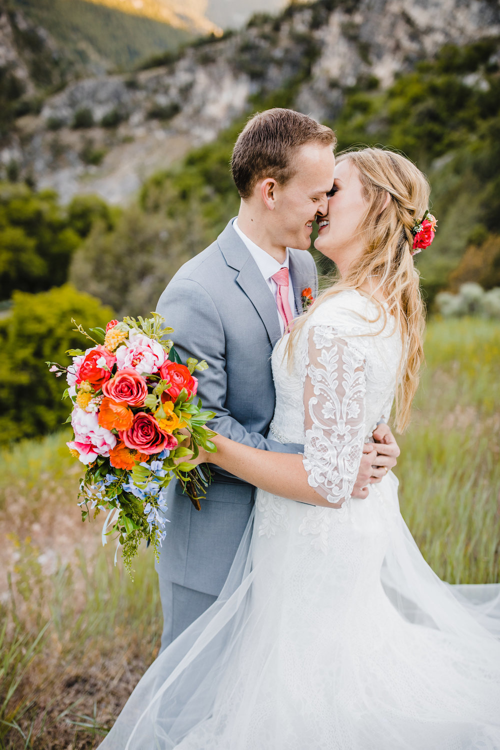 utah valley wedding photographer kissing romance bride and groom