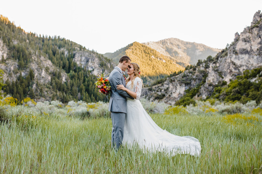 best professional wedding photographer in logan utah mountain wedding romance bride and groom green fields