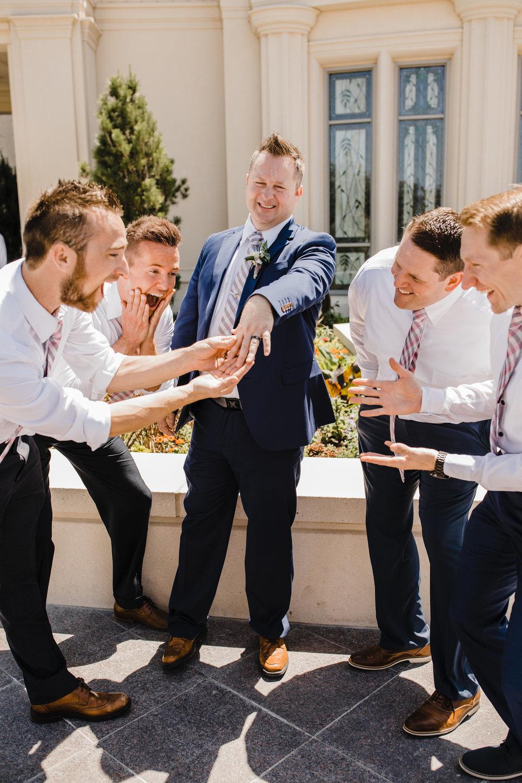 professional wedding photographer in cache valley utah lds temple wedding groomsmen groom wedding ring