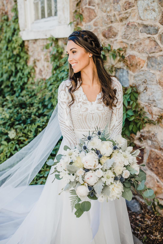 best wedding photographer in cache valley white wedding bouquet long veil bride wedding braid
