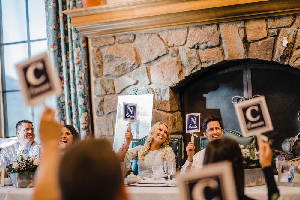 salt lake wedding photographer dinner reception trivia wedding signs