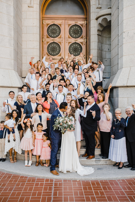salt lake city professional photographer celebrating lds temple stairs wedding exit