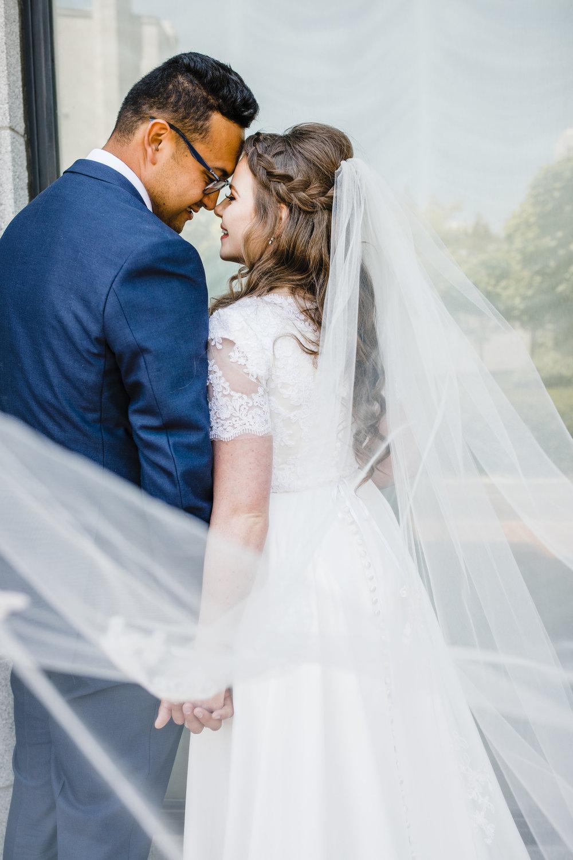 wedding photographer in salt lake long veil wedding braid romantic