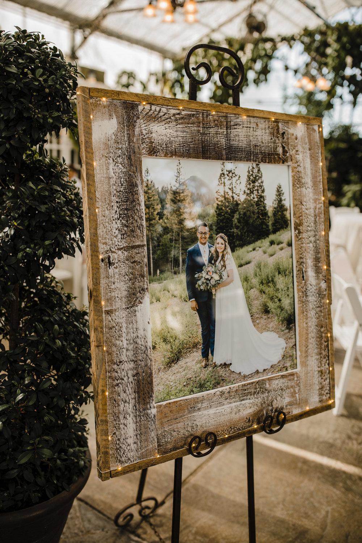 utah valley wedding photographer reception rustic frame