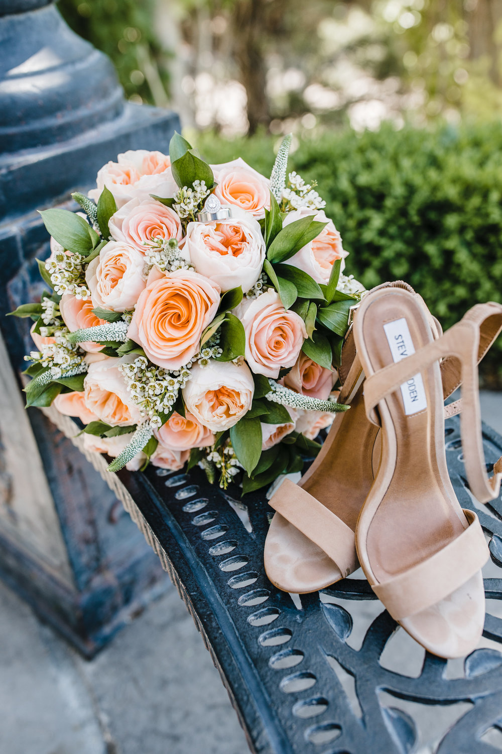 wedding day details rose bouquet and bride shoes northern utah wedding photographer calli richards