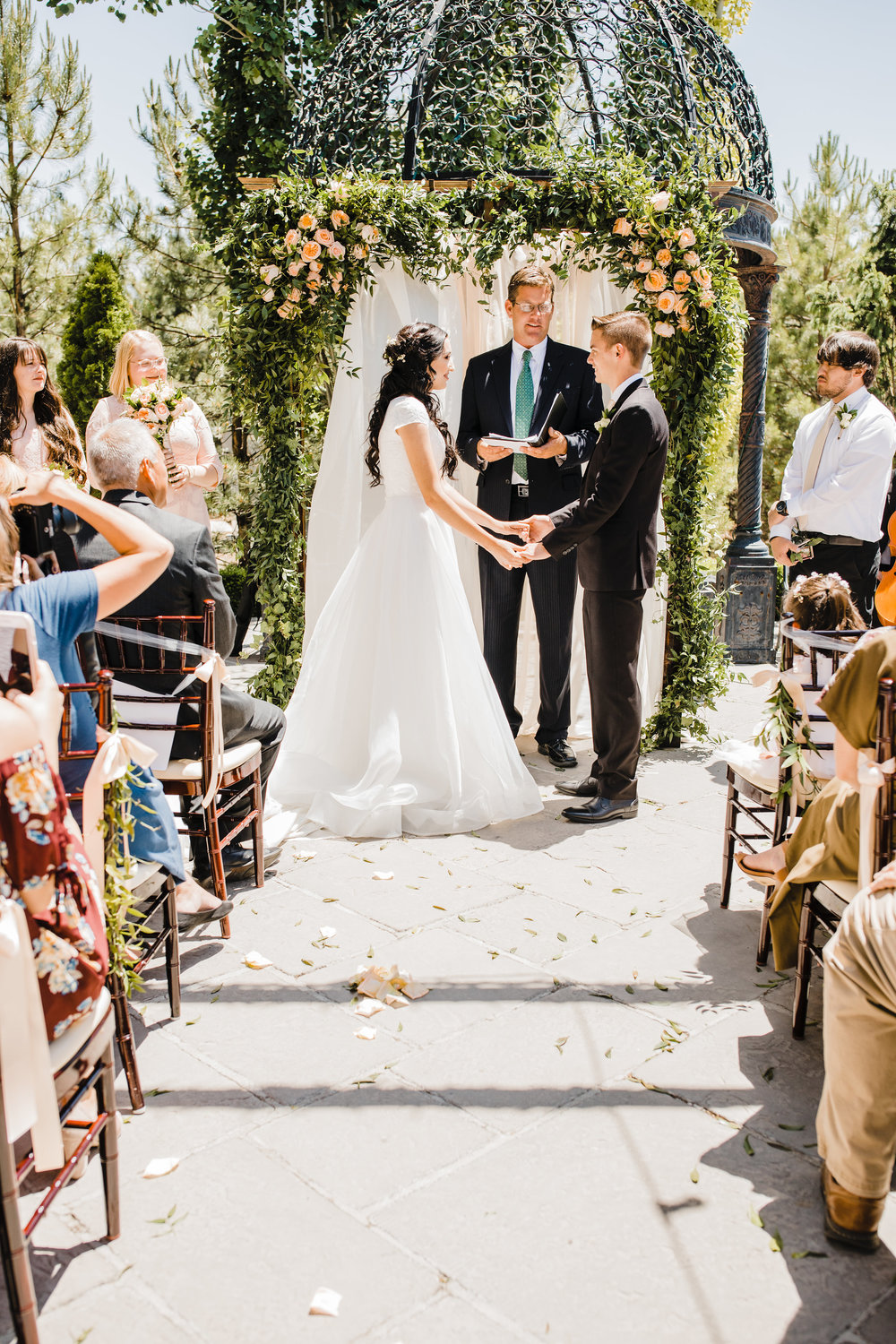 bride and groom during wedding ceremony sleepy ridge golf course orem utah wedding photographer calli richards