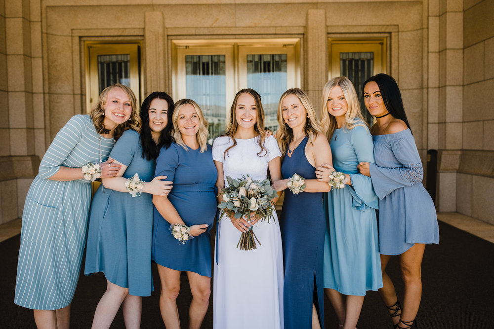professional photographer in cache valley utah lds temple wedding blue bridesmaids dresses