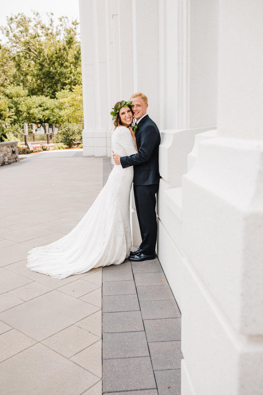 brigham city professional wedding photographer lds temple hugging green flower crown happy