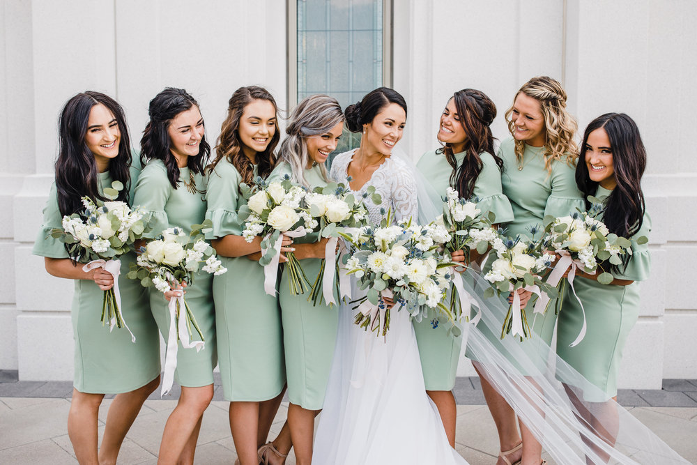 best brigham city utah wedding photographer green bridesmaids dresses white bouquets happy smiling bridal braids