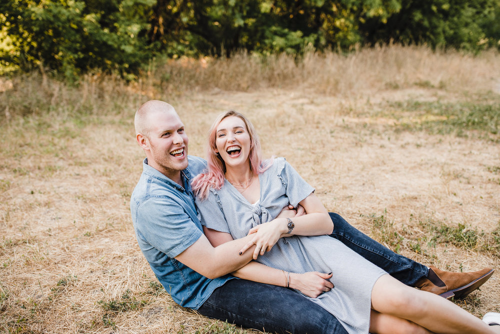 cache valley professional couples photographer sitting laughing snuggling playful