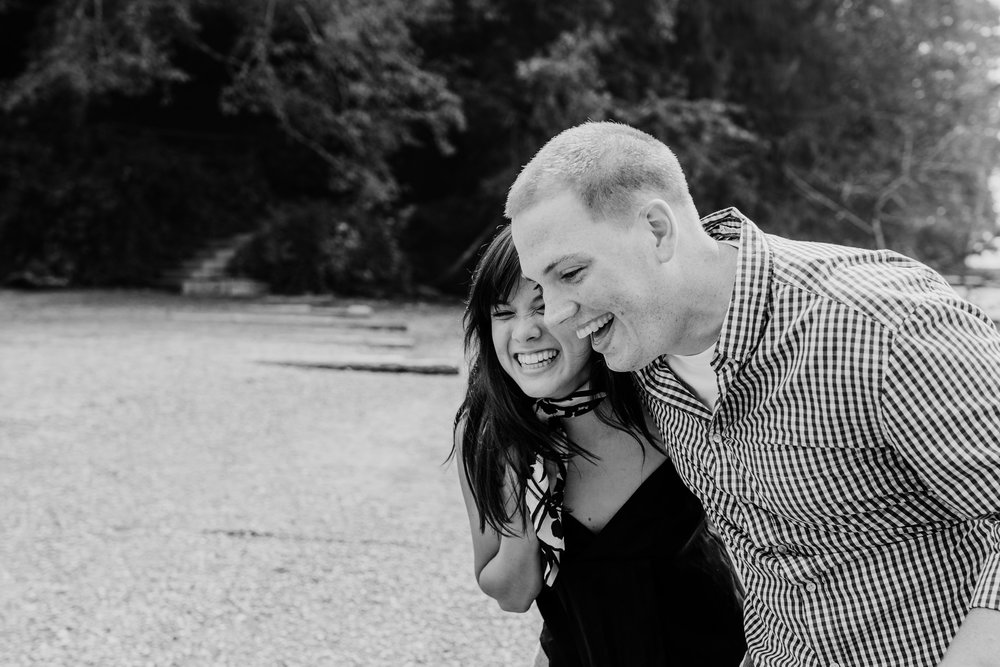 romantic engagement photos olympia washington forest engagement session black and white beach couples photographer