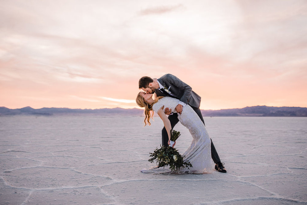 best salt lake city formal photographer kissing dipping sunset romantic