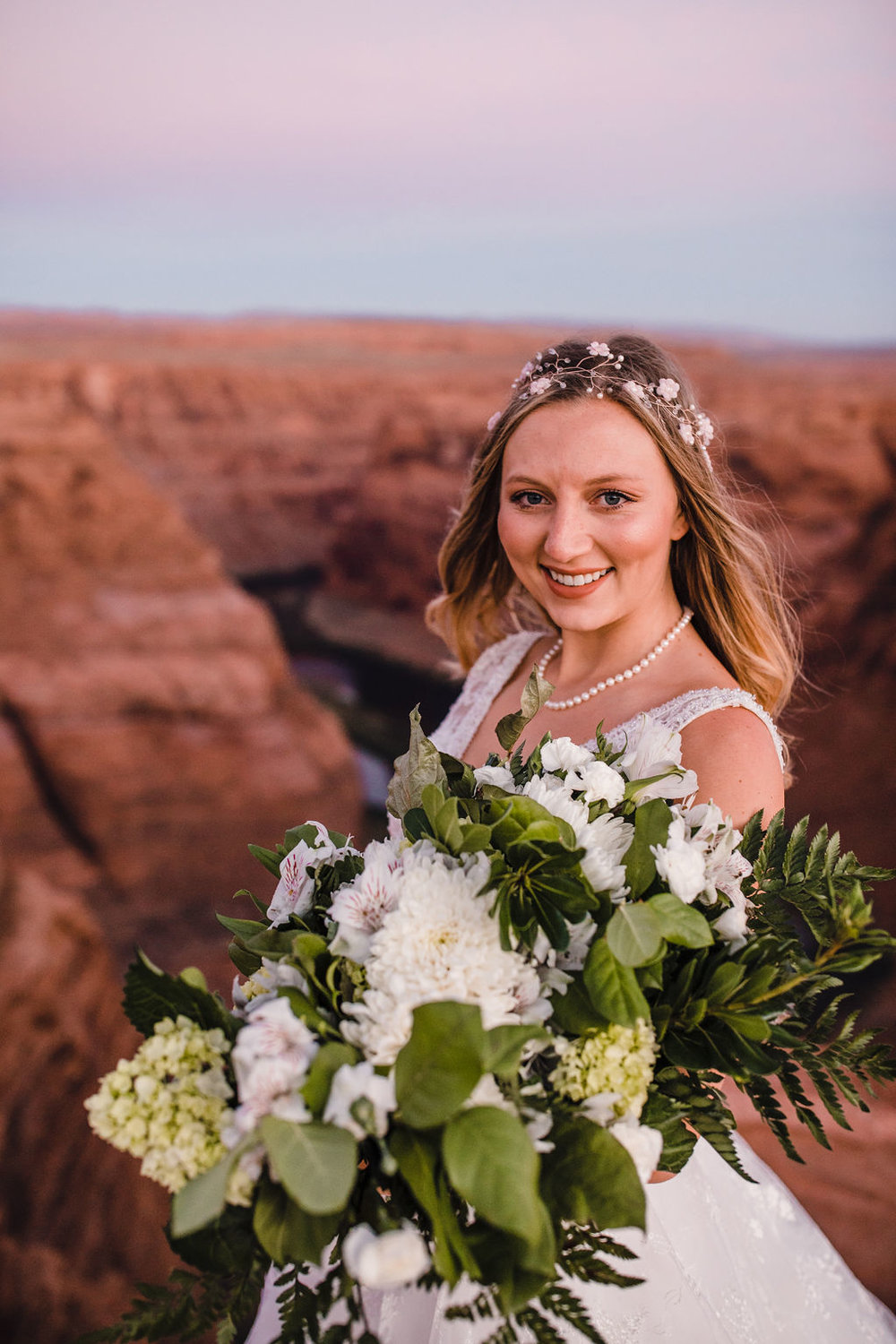 best grand canyon formal photographer white floral bouquet white flower crown pearl necklace