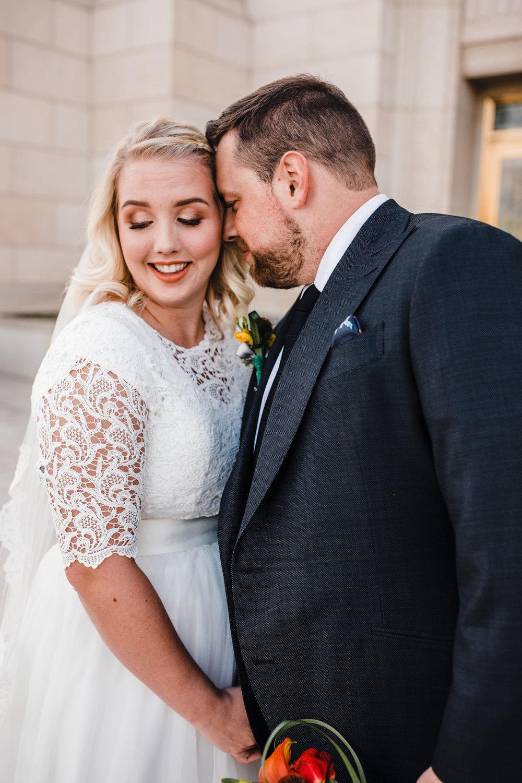 professional ogden utah formal photographer lace dress smiling hugging romantic