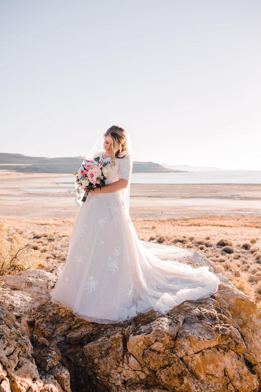 Antelope Island Salt Lake City utah lace wedding dress pink bouquet sunset