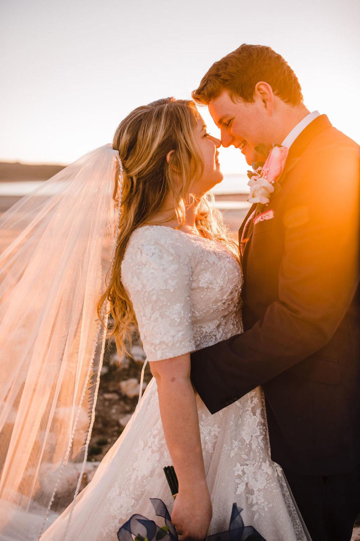 sunset at antelope island hugging romantic sunset lace dress