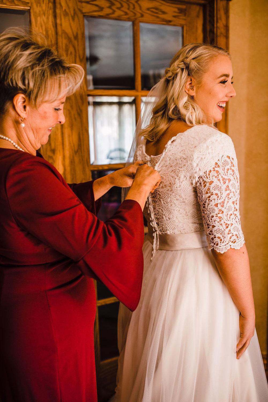 professional odgen utah wedding photographer lace dress wedding morning dress zip