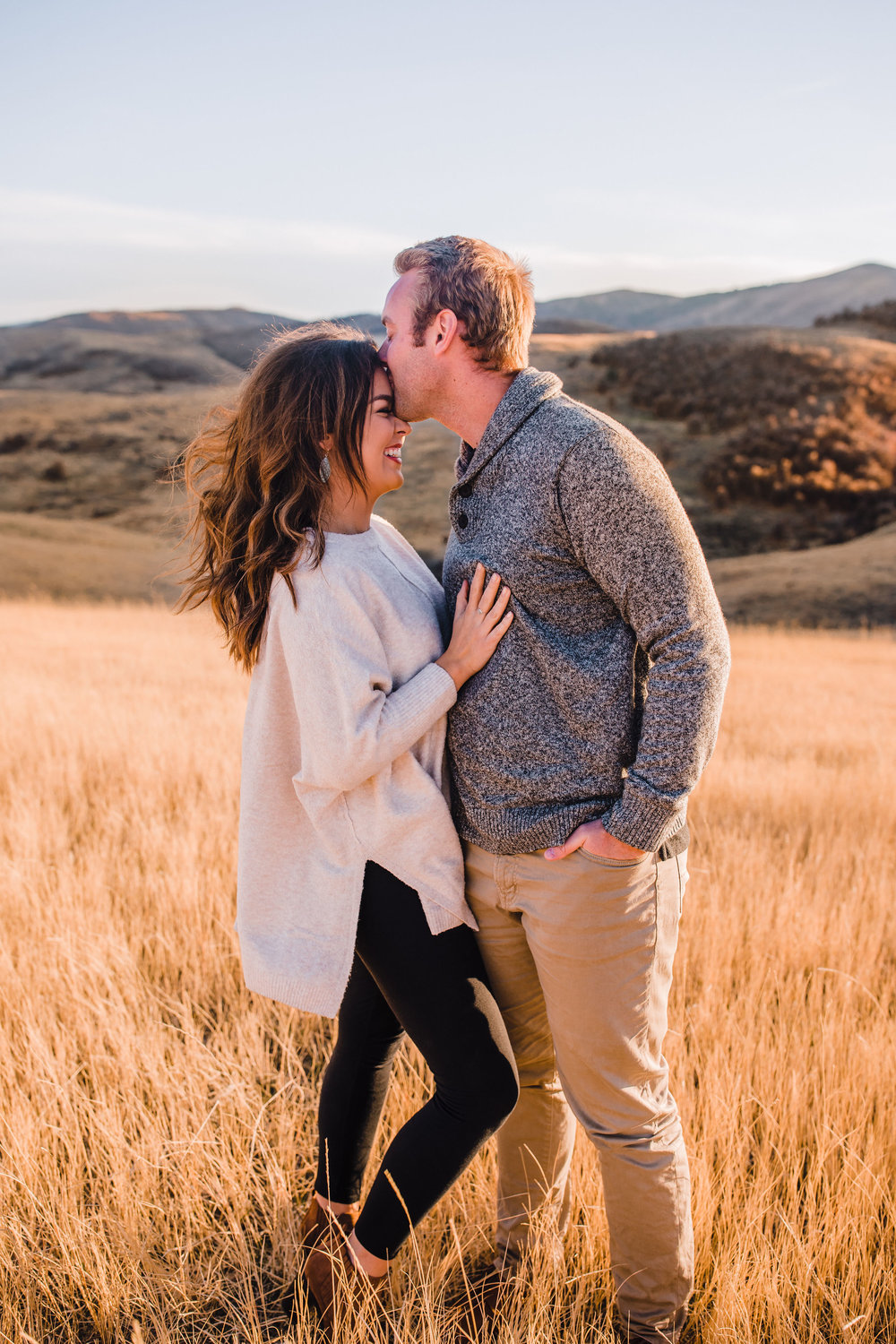 classy utah engagement pictures in the mountains yellow fields natural posing romantic engagement photographer