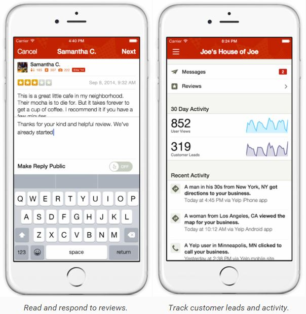 Yelp Mobile App For Business Owners — Paonessa Marketing