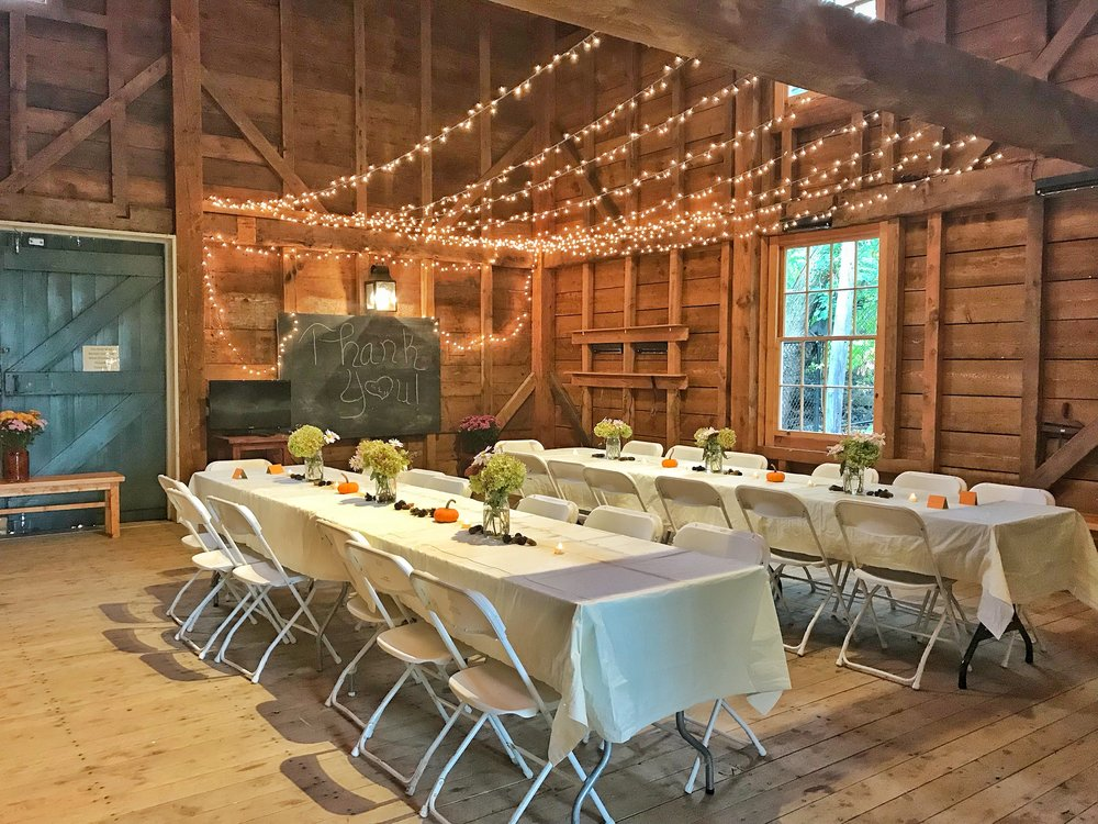 Carriage House* - CAPACITY 70 people without tent; 120 people with additional tent outsideYOUR RENTAL INCLUDES Use of Kitchenette, including sink and refrigerator; A bathroom; Events staff available throughout event; Limited tables and chairs*Available April-November
