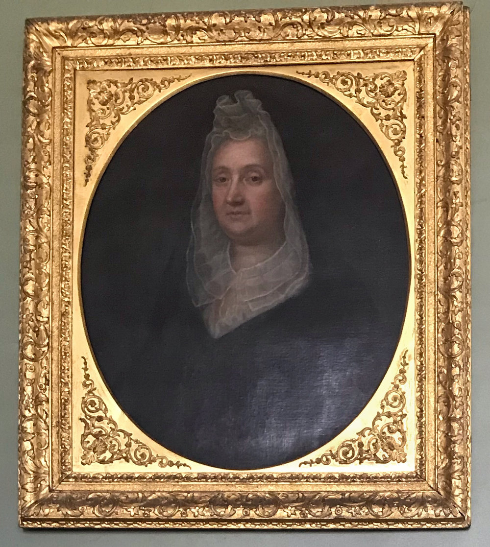 Portrait of Lady Frances Shirley in mourning. This portrait is hung in the Great Hall of the Shirley-Eustis House.