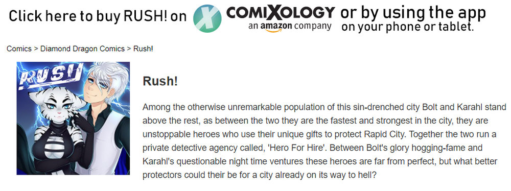 Support RUSH! by buying or the books either on the comixology app or website.