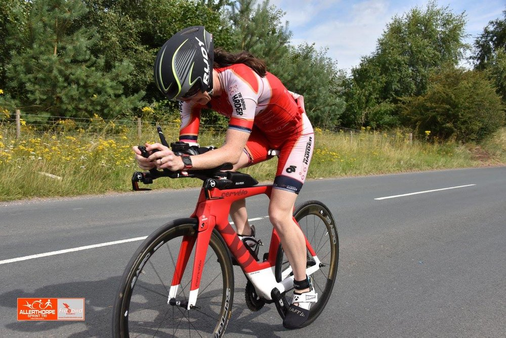 Team athlete Elaine Garvican grits it out at the Allerthorpe Triathlon