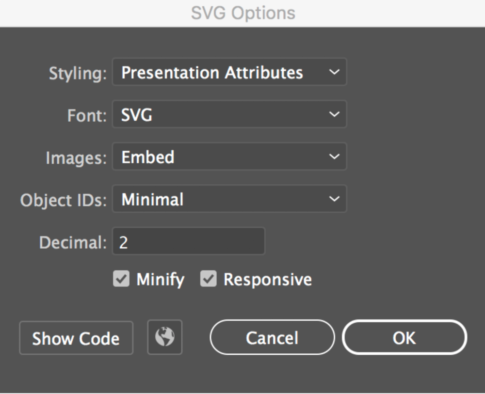 illustrator svg export options