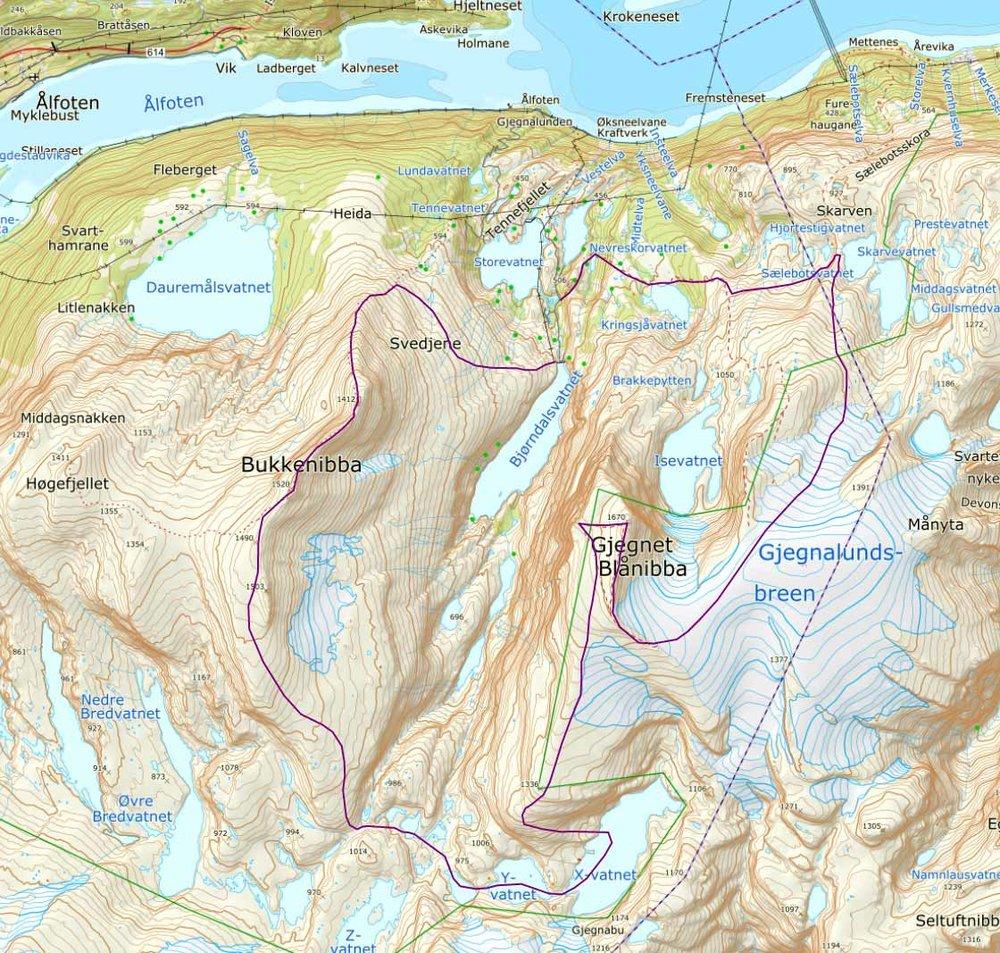 Skjermdump frå Norgeskart som syner ruta som Arve og Hallgeir gjekk på turen over Bukkenibba, Gjegnen og over til Gullsmedhytta. Klikk på skjermbildet for å gå til interaktivt kart.