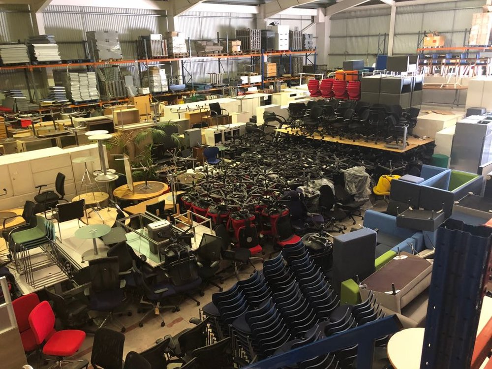 Thousands of office chairs, desks and soft seating.