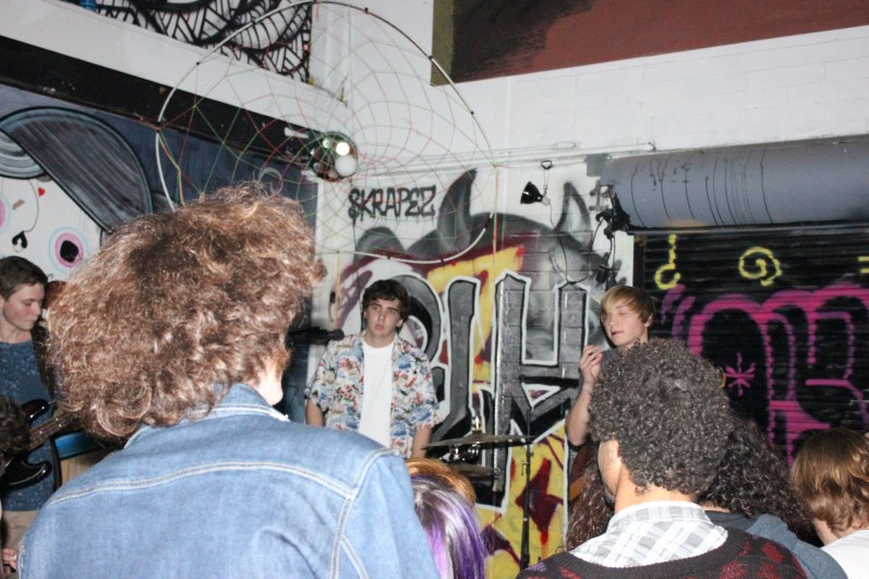 Buddha Trixie in a Garage - The show was comprised of all San Diego native surf punk bands Beach Goons, Sandy Cheeks, Buddha Trixie, Groms, and Shady Francos, then finished up with the Los Angeles native band Death Lens.