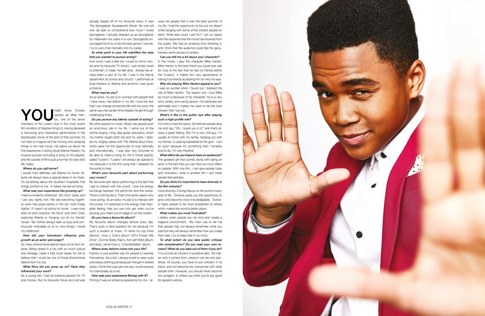 Chosen Jacobs - Interview - You might know Chosen Jacobs as Mike Hanlon, one of the seven members of the Losers club in the most recent film rendition of Stephen King's It. Having delivered a harrowing and impressive performance in the blockbuster movie of the (end of the) summer, it's not hard to imagine he'll be moving onto amazing things in the near future. He opens up about his first experience in acting (local Atlanta theater), his musical pursuits (including a song on It's playlist), and life outside of films (just a normal 16-year-old's life, really).(PHOTOGRAPHER: STORM SANTOS // STYLIST: CAT WRIGHT // GROOMER: TASHA BROWN FOR EXCLUSIVE ARTISTS USING BAXTER OF CA)