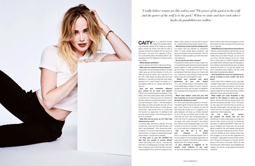"Caity Lotz - Interview - 'I really believe women are like wolves, and ""The power of the pack is in the wolf, and the power of the wolf is in the pack"". When we unite and have each other's backs, the possibilities are endless.'(PHOTOGRAPHER: RICKY TOMPKINS // STYLIST: TARA NICHOLS // HAIR STYLIST: DALLIN JAMES // MAKE-UP ARTIST: ELIZABETH WINDUST)"
