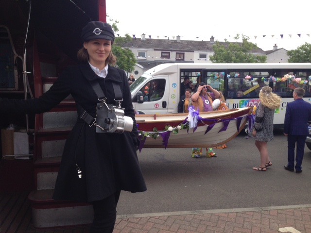 Stella our conductor passing the hippy chic boat at the Cockenzie and Port Seton Gala.  Picture: Sam Phipps