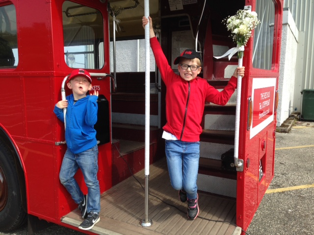 Go on Mum, this is the bus for us!  Picture: Clunie Phipps