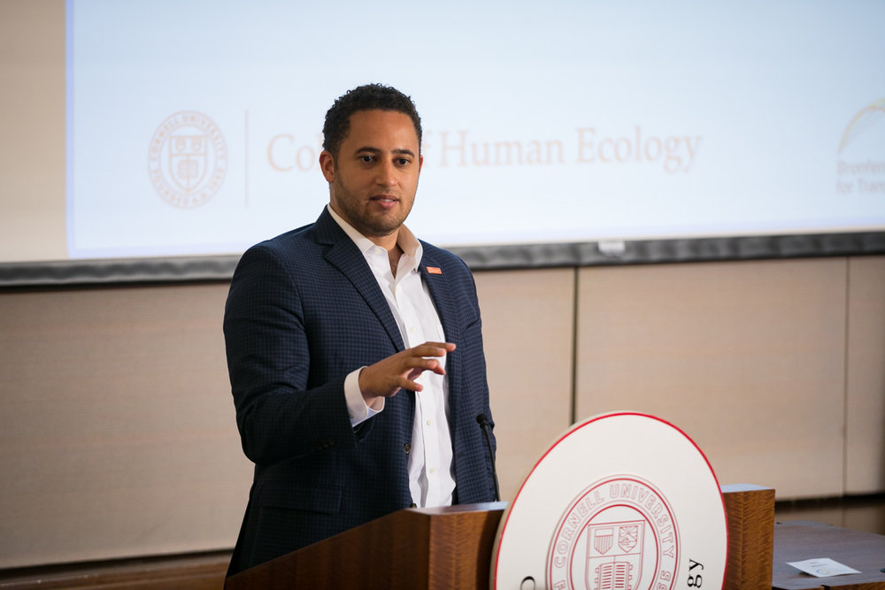 Ithaca, NY Mayor Svante Myrick speaking at the Cornell Project 2Gen inaugural event