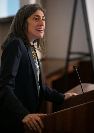 Lisa Gennetian speaking at the Cornell Project 2Gen Inaugural Event