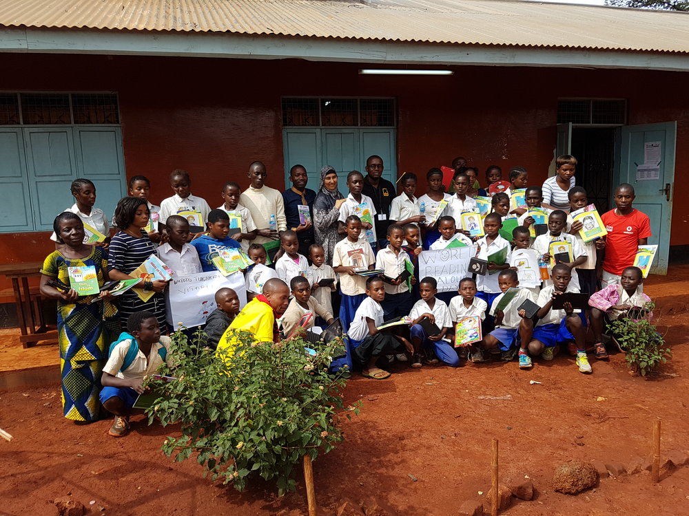 At the Nyarugusu refugee camp for 'World Reading Aloud Day 2017'