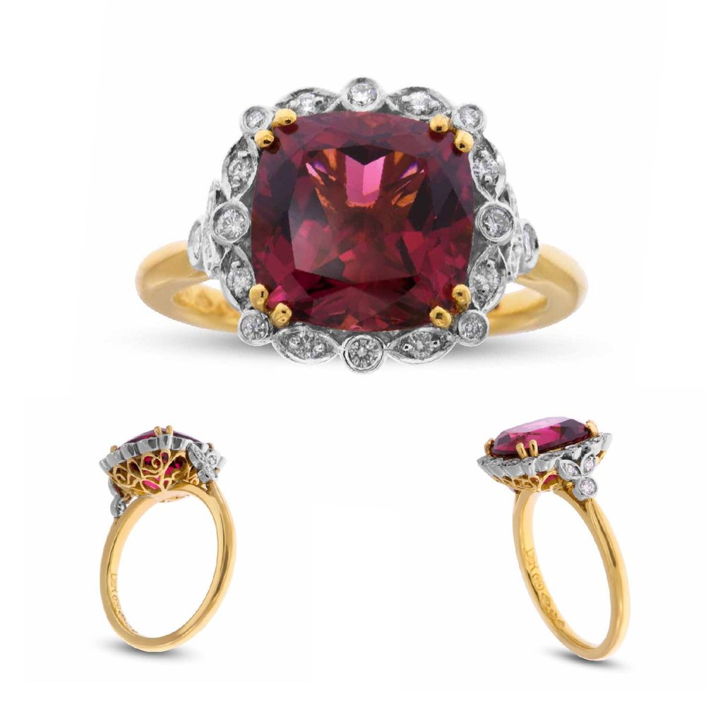 """Venitia"" Rubellite Tourmaline with Diamonds - Platinum- Yellow Gold"