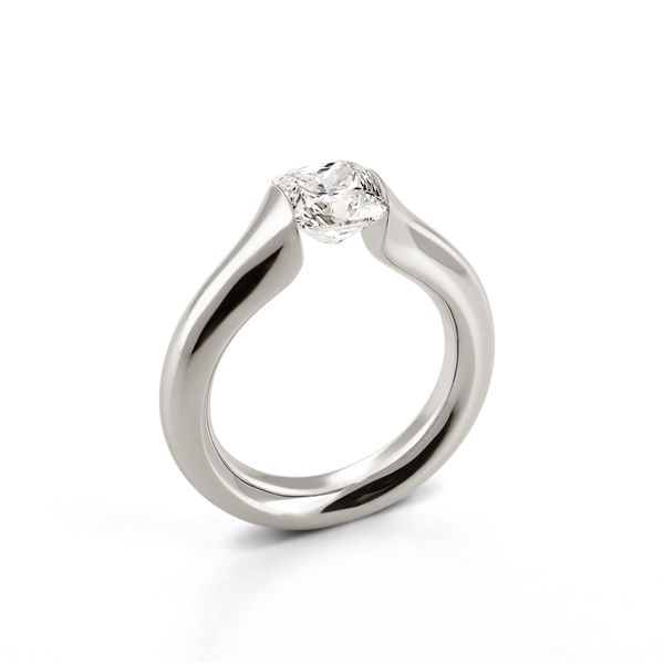 LuLu tension ring - platinum - cushion cut diamond