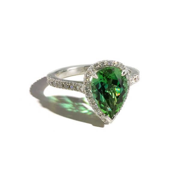 """Tourmaline Tear"" - Green Tormaline & Diamond - Platinum"