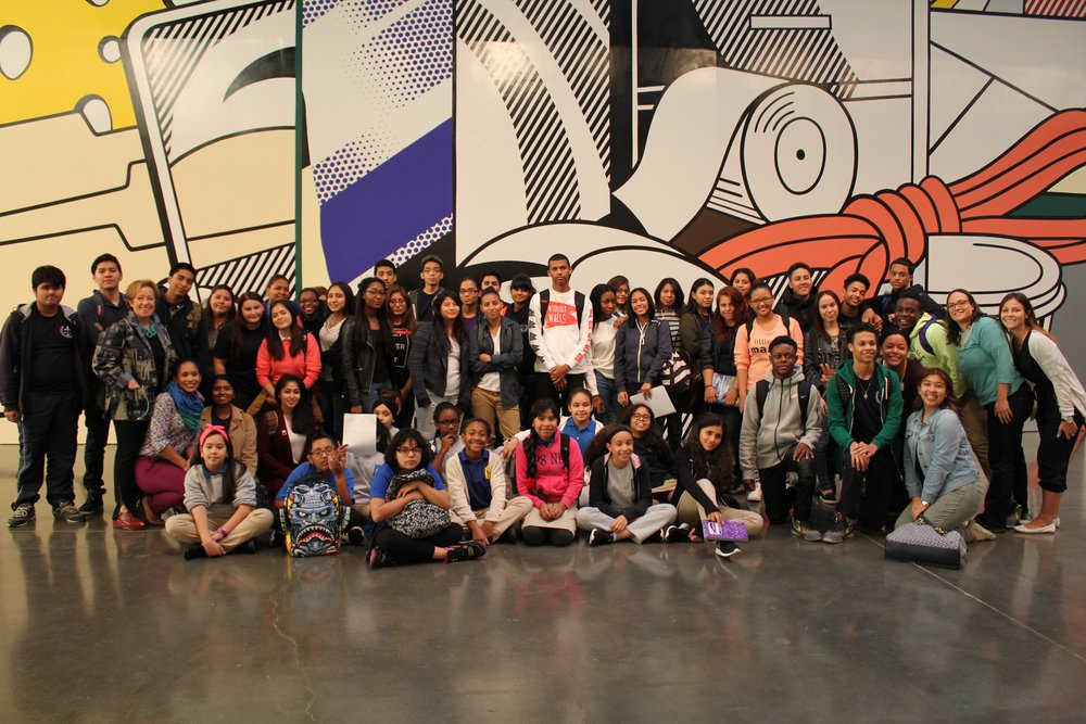 Visit to Gagosian's Lichtenstein Exhibition, 2015. - Students from The Law, Advocacy, and Community Justice High School at Martin Luther King Jr. Educational Campus and students from Hamilton Grange Middle School visited Gagosian on W 23rd street in 2015 to see the Lichtenstein Greene Street Mural and draw sketches for their own murals in their schools.