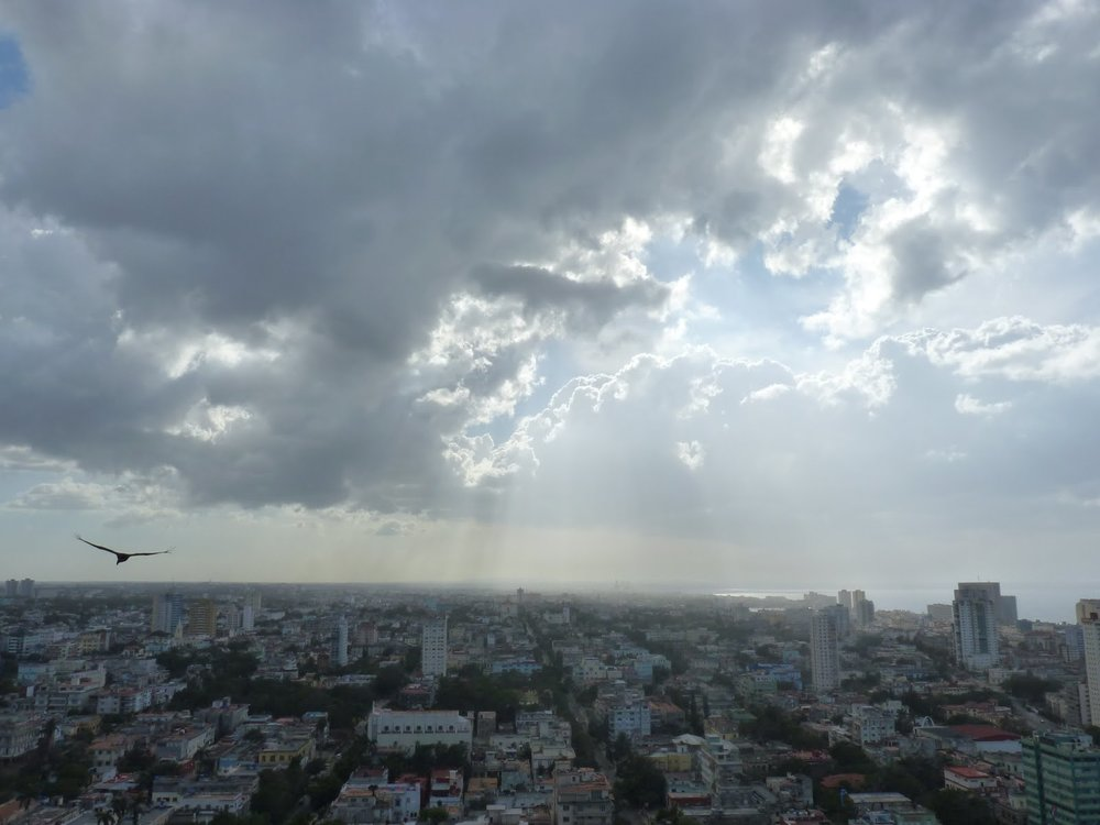 View from the FOCSA building. Built in 1956 and 121 meters high, it is the tallest building in Cuba and acted as a trendsetter for more high-rise buildings. In the 1970s, FOCSA housed Soviets who turned the downstairs supermarket into a non-Cuban enterprise.