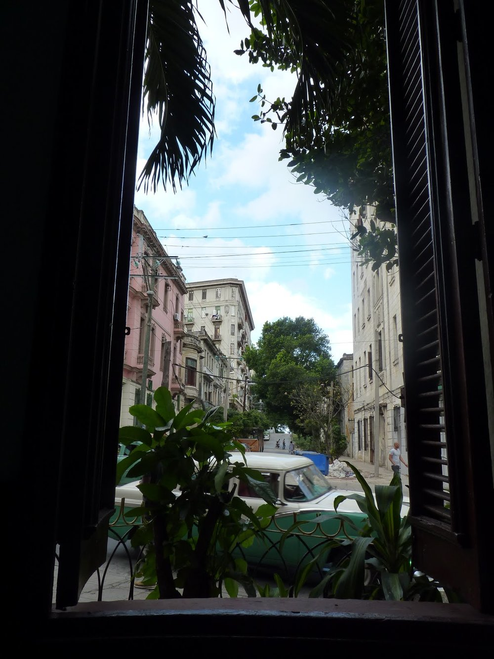 View from a café situated in the housing complex for students at the  Universidad de la Habana. Fidel Castro supposedly planned the revolution in this café, his markings still noticeable on the table.