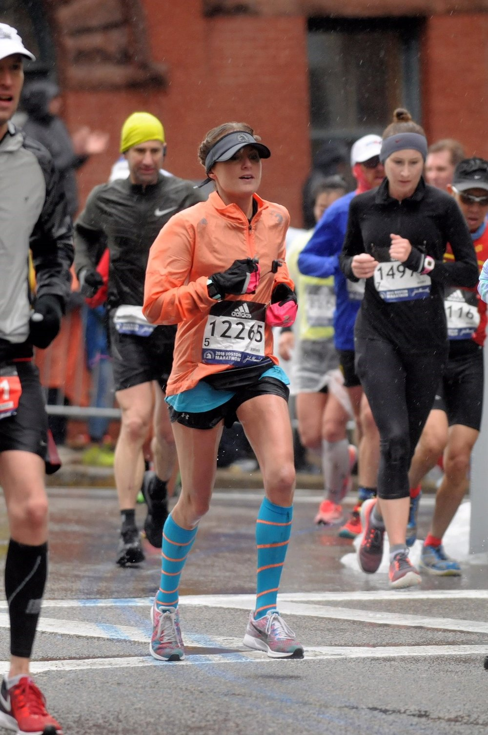 Michelle wraps up her third Boston Marathon in 3:29 in 35 degree weather and 30 mph headwinds. -
