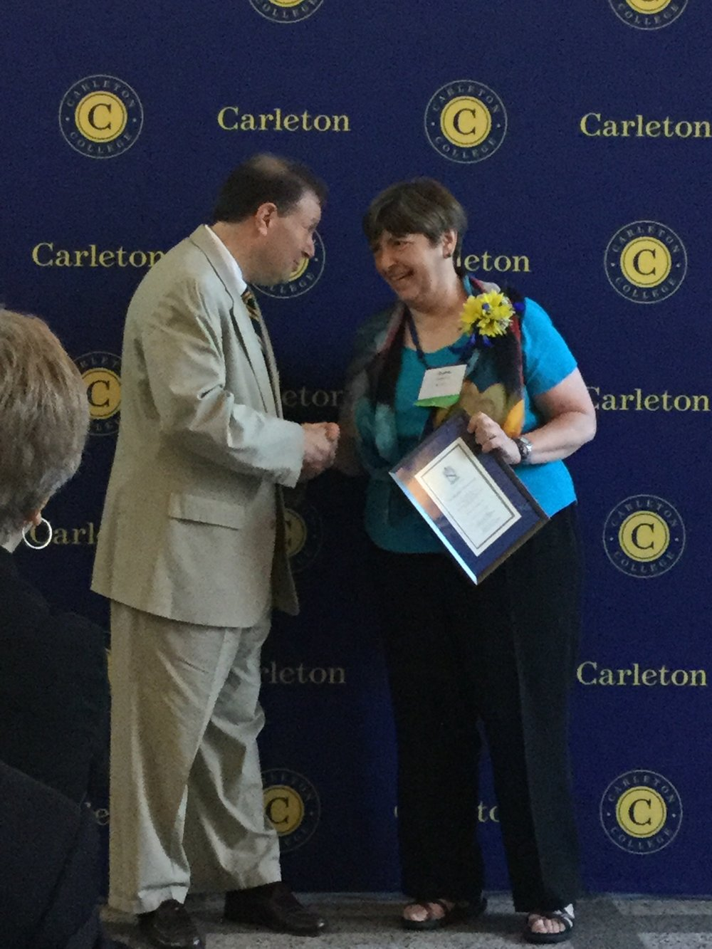 Diane Redleaf received the (Carleton College Distinguished Alumni Achievement Award Celebration in June 2016