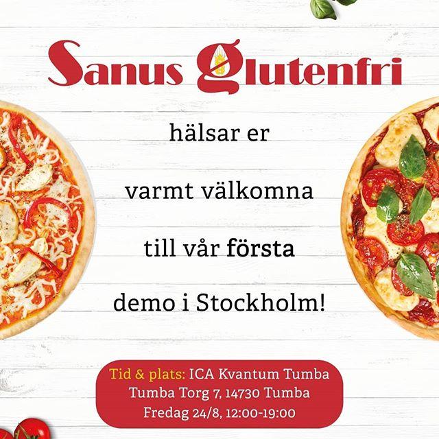 Så har det äntligen blivit dags, efter många efterfrågningar kan vi nu med glädje bjuda in er till vår första demo i Stockholmstrakten den 24:e augusti mellan 12-19:00 i butiken ICA Kvantum Tumba!  Kom förbi, smaka och njut av ett riktigt lokalt svenskt hantverk, den enda gluten-, vete- och laktosfria färdigpizzan av sitt slag. Glöm inte att även ta med vänner och familj som du vet hade varit intresserade!  Förtydligande: Produkterna kommer även att finnas till försäljning.