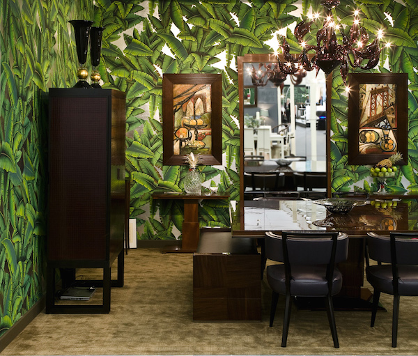Hand-painted Palms design in Gaugin colours on Ocean Silver Gilded Paper, de Gournay – from £300 per m